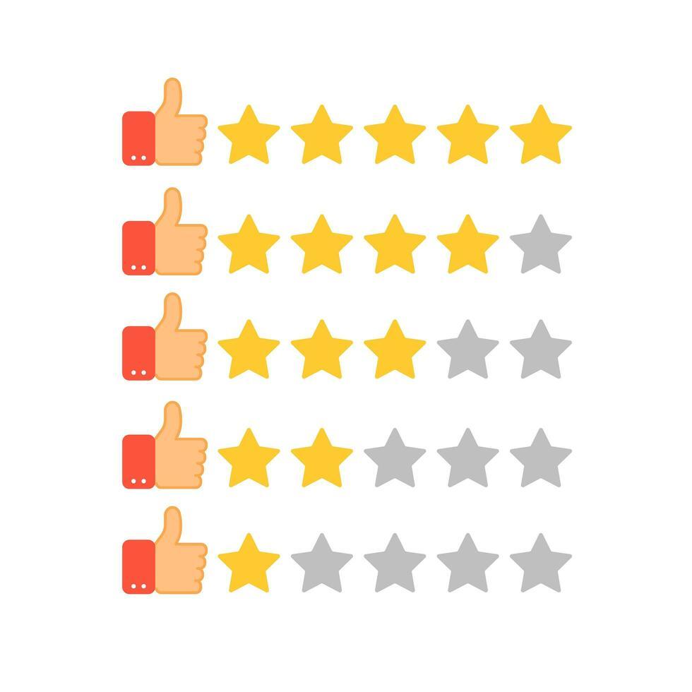 conjunto de classificação de estrelas douradas e polegar para cima vetor