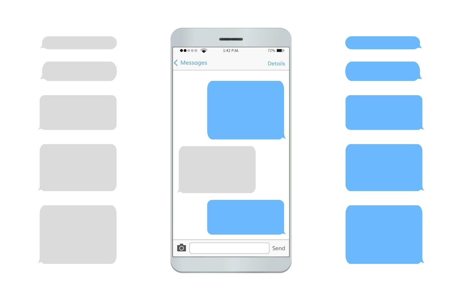 conjunto de interfaz de usuario de mensaje de texto de teléfono móvil vector