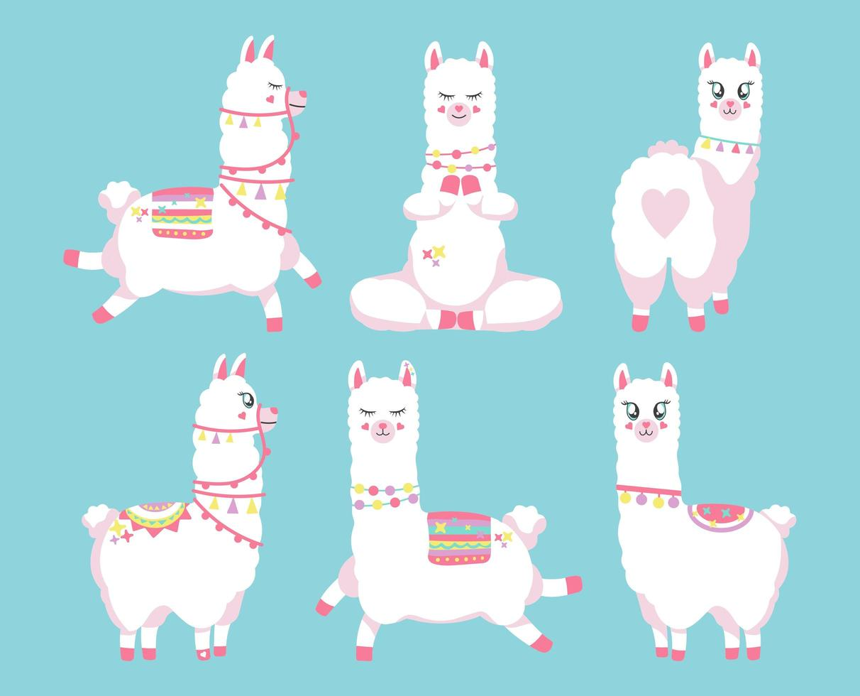 Cute llamas or alpacas set vector