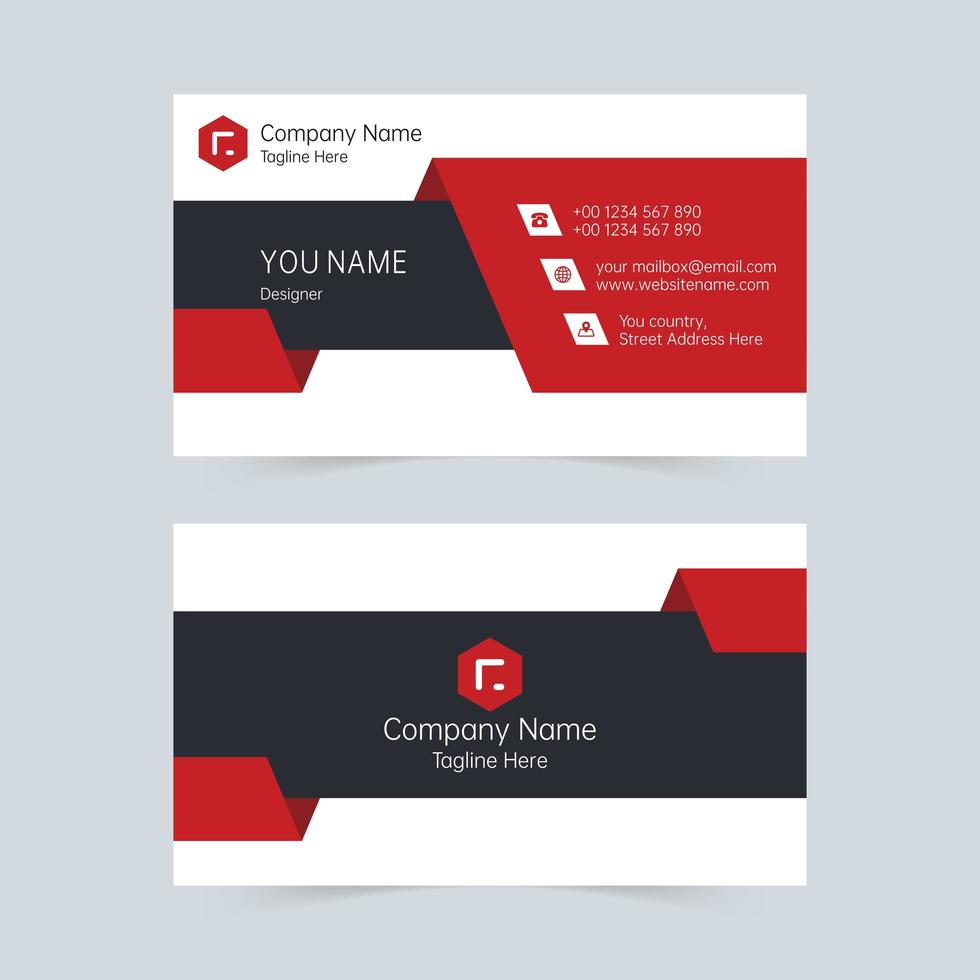 Creative red and black company card template vector