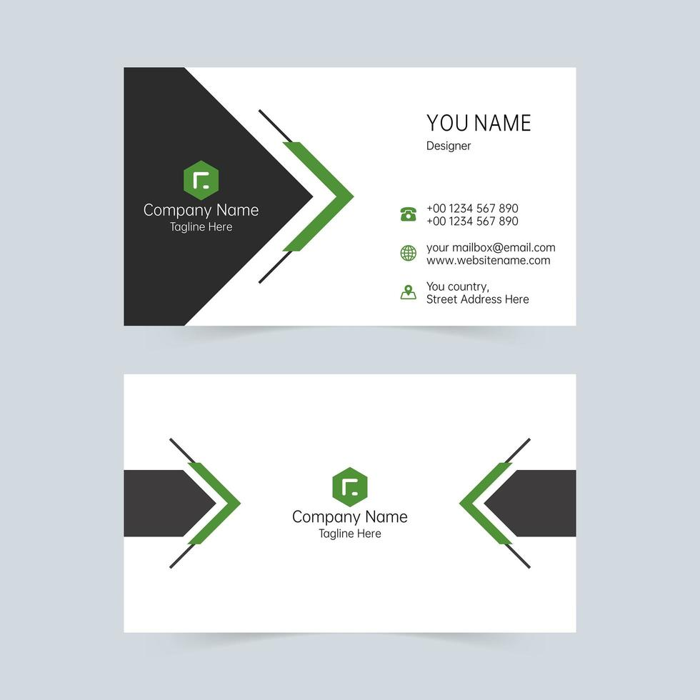 Black and green business card simple shapes template  vector