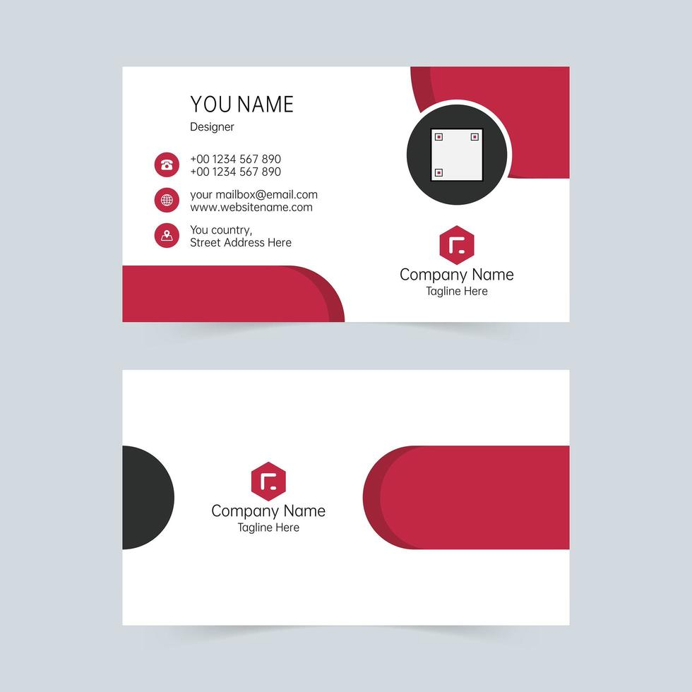Red and white shapes business card template vector
