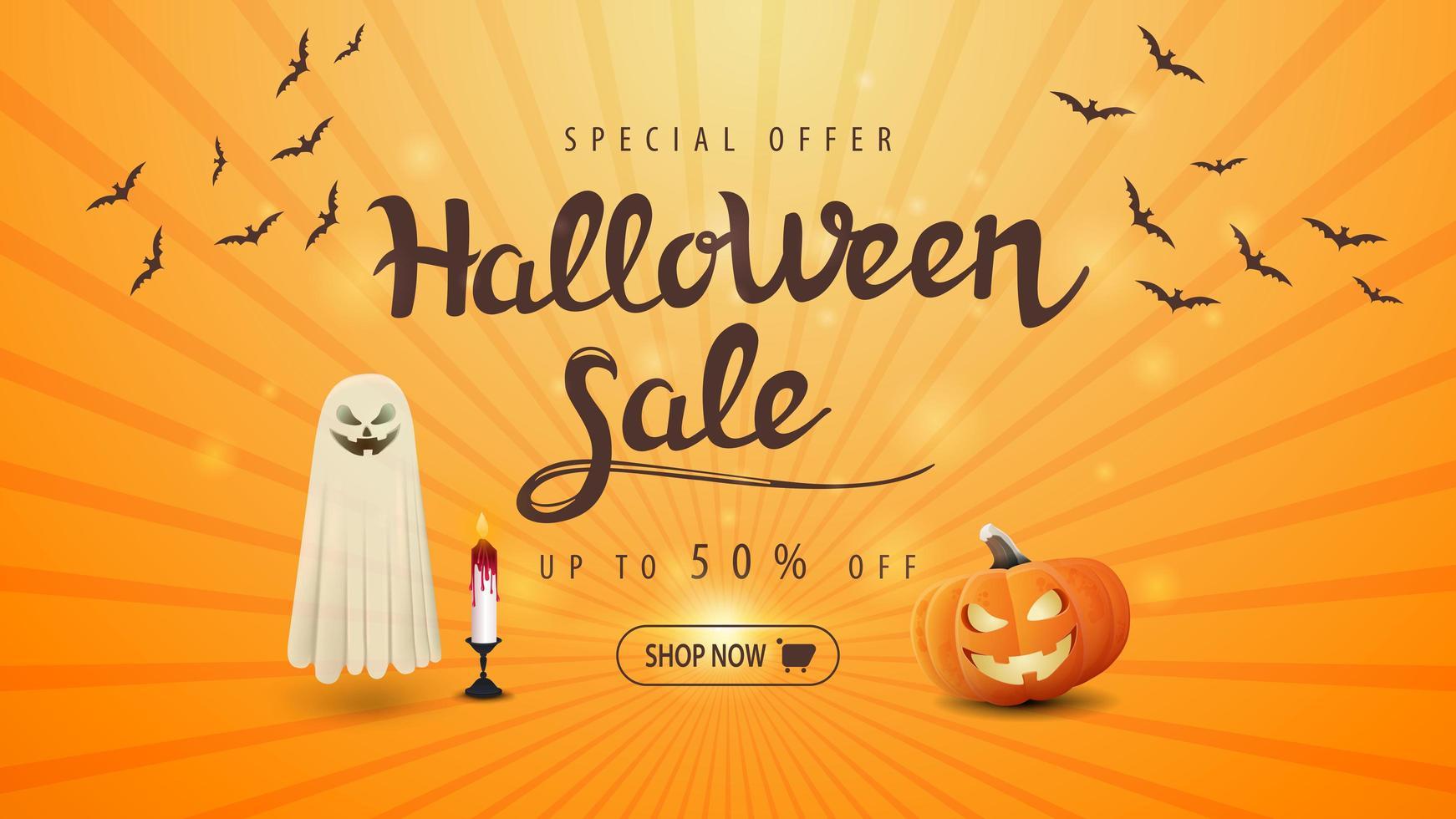 venta de halloween banner naranja con calabaza jack y fantasma vector