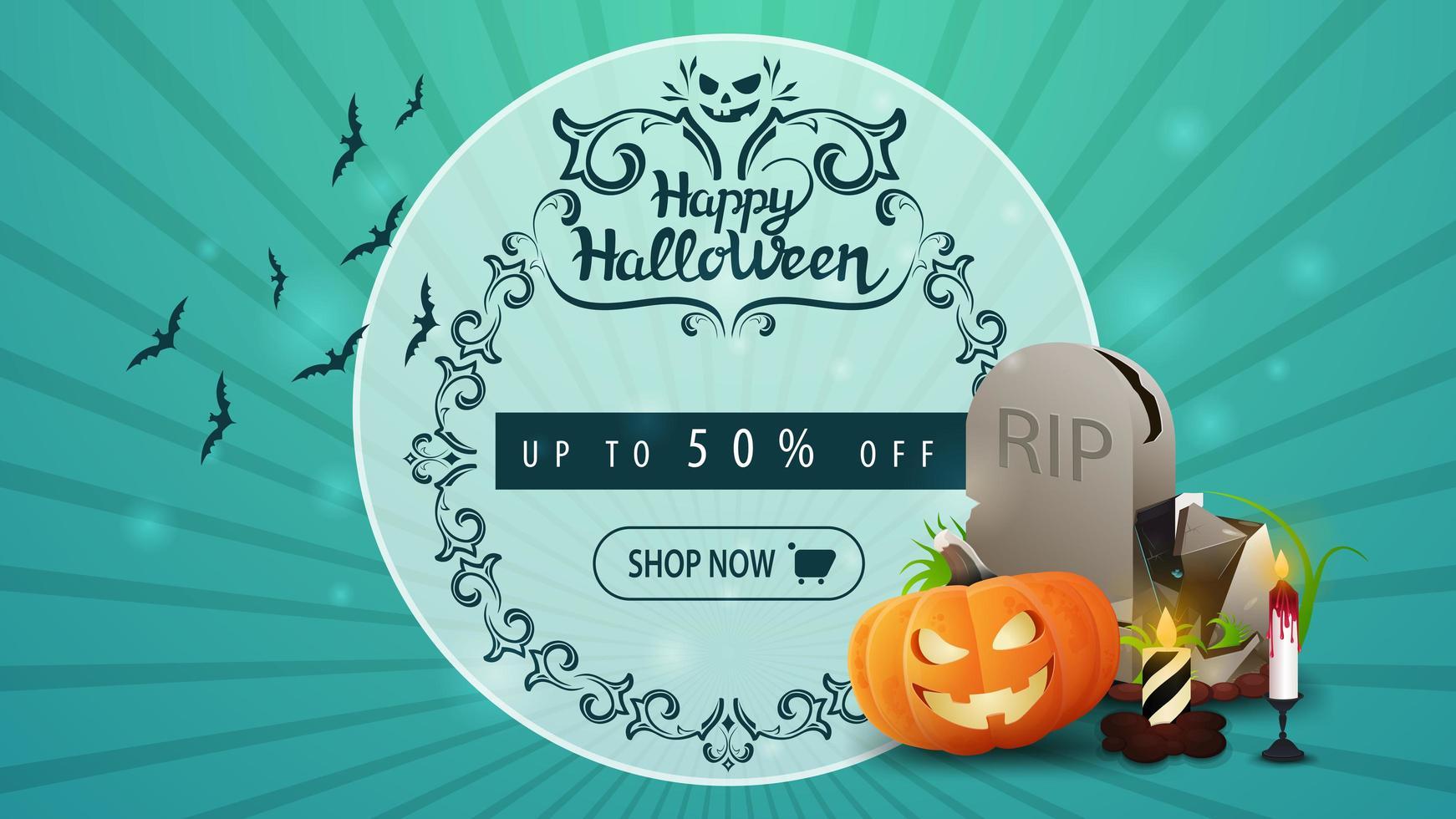 Halloween discount banner with tombstone and pumpkin Jack vector