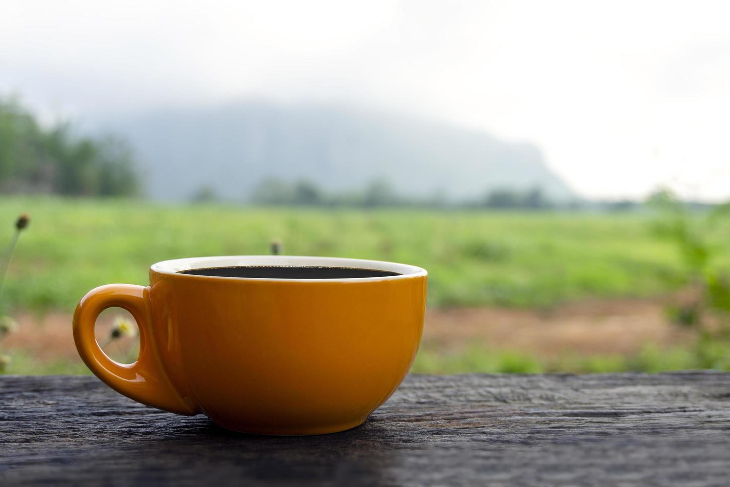 taza de café en la mesa en un pintoresco escenario al aire libre foto