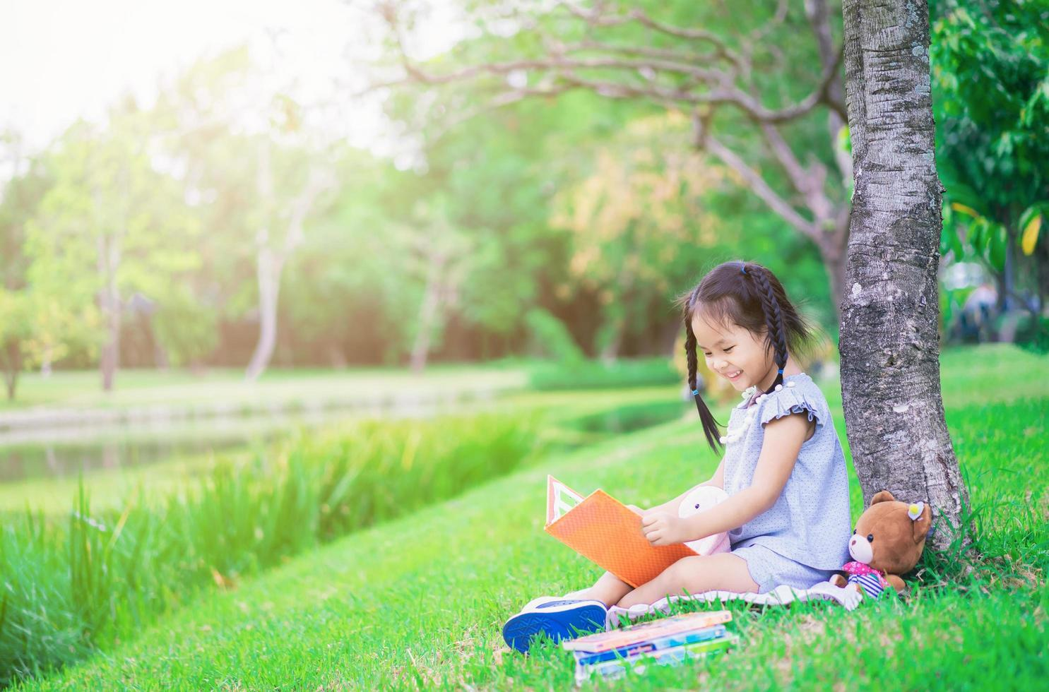 Young Asian girl reading book in a park photo