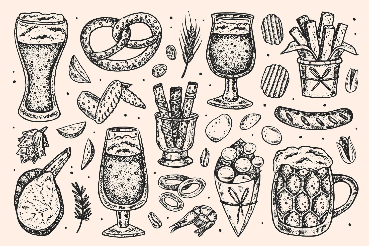 Hand drawn sketch style Oktoberfest set of elements. vector