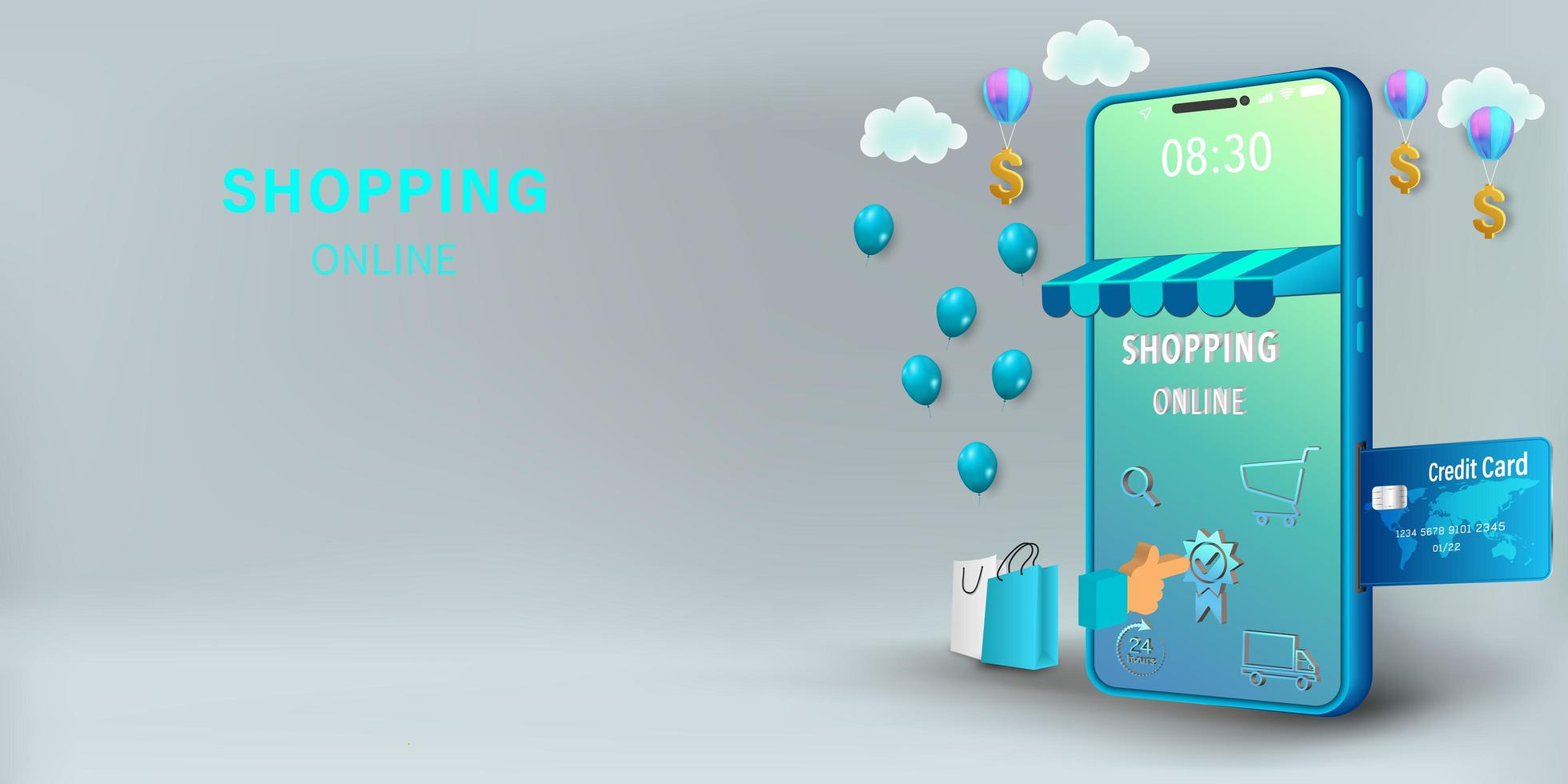 Shopping online on mobile concept vector