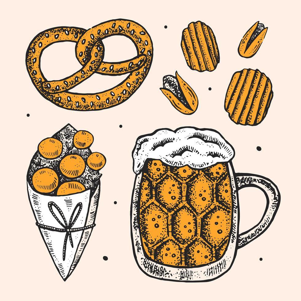 Oktoberfest conjunto de elementos dibujados a mano. vector