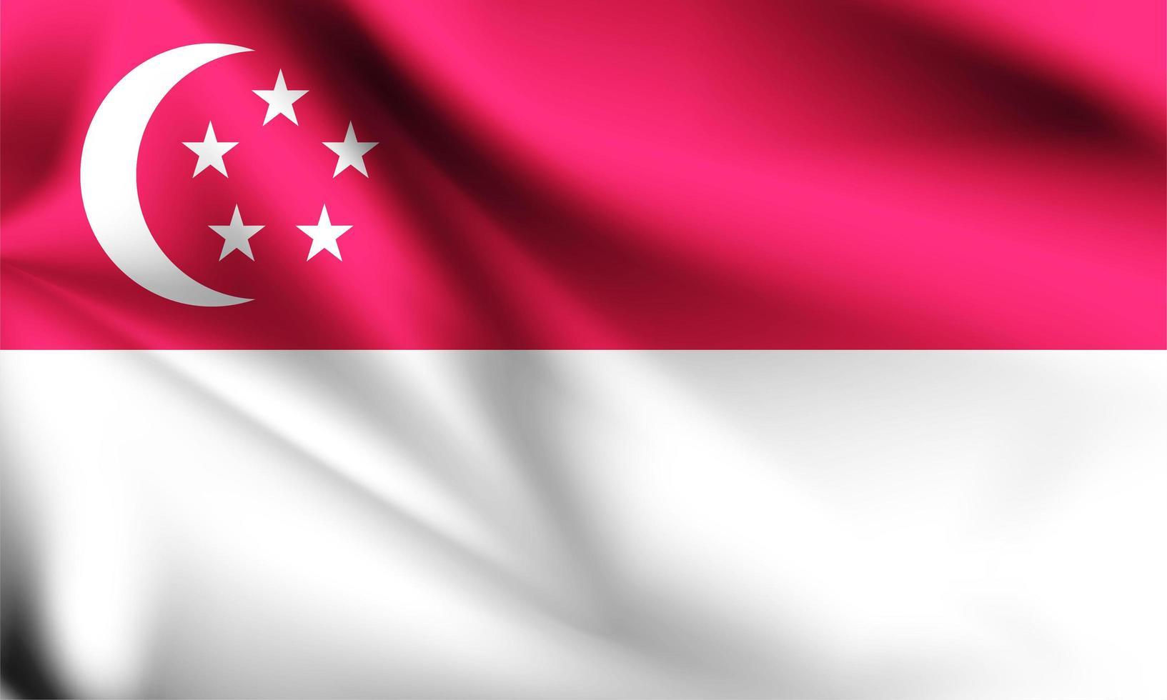 bandera 3d de singapur vector