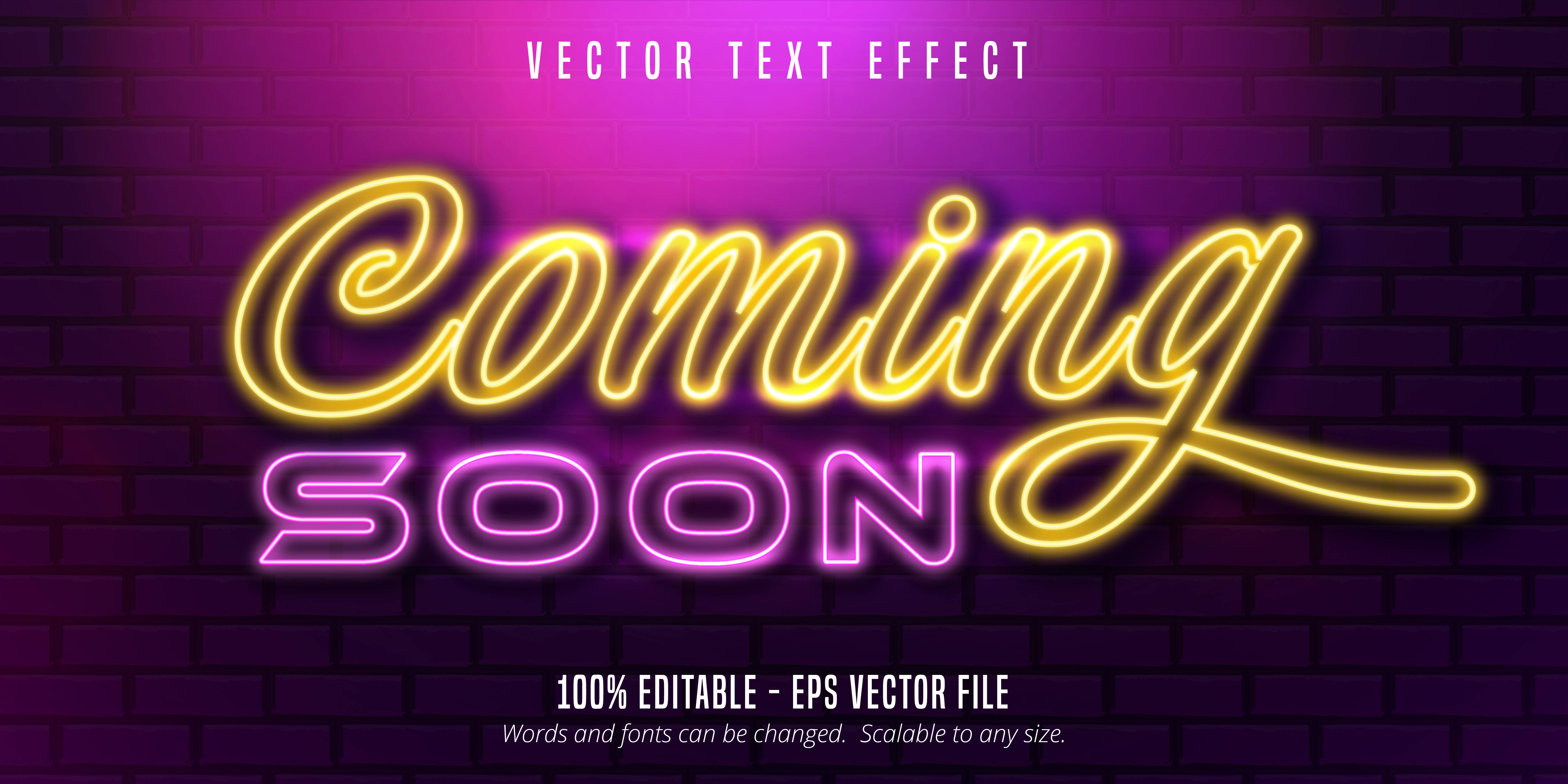Coming Soon Neon Style Editable Text Effect Download Free Vectors Clipart Graphics Vector Art