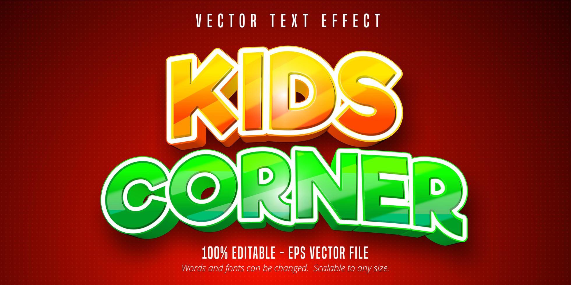 Kids corner comic style editable text effect vector