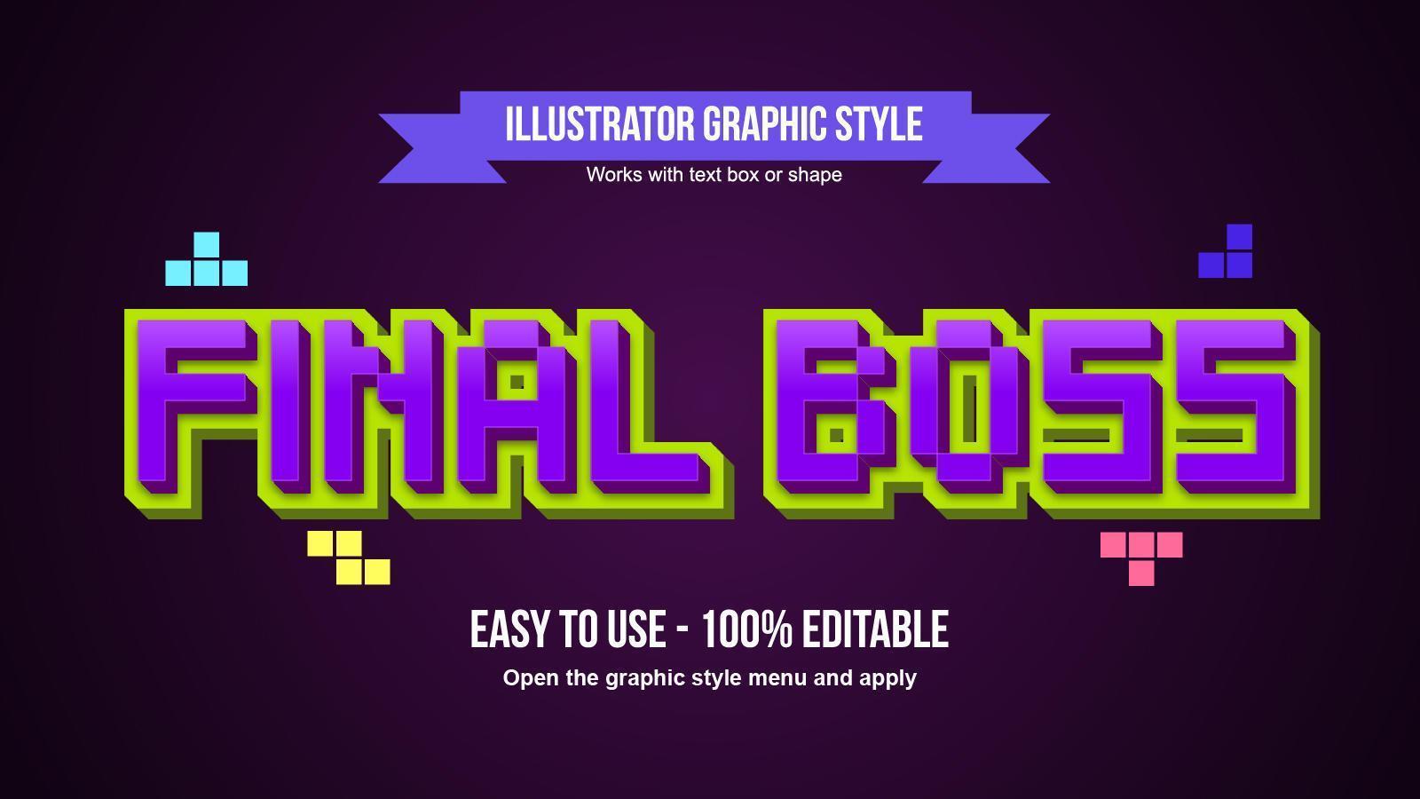 Efecto de texto de estilo de píxel púrpura de dibujos animados 3D vector