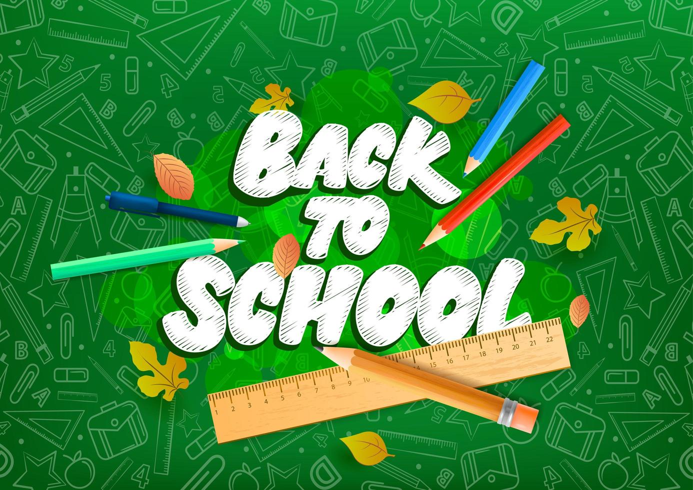 Back to school text drawing by chalk.  vector