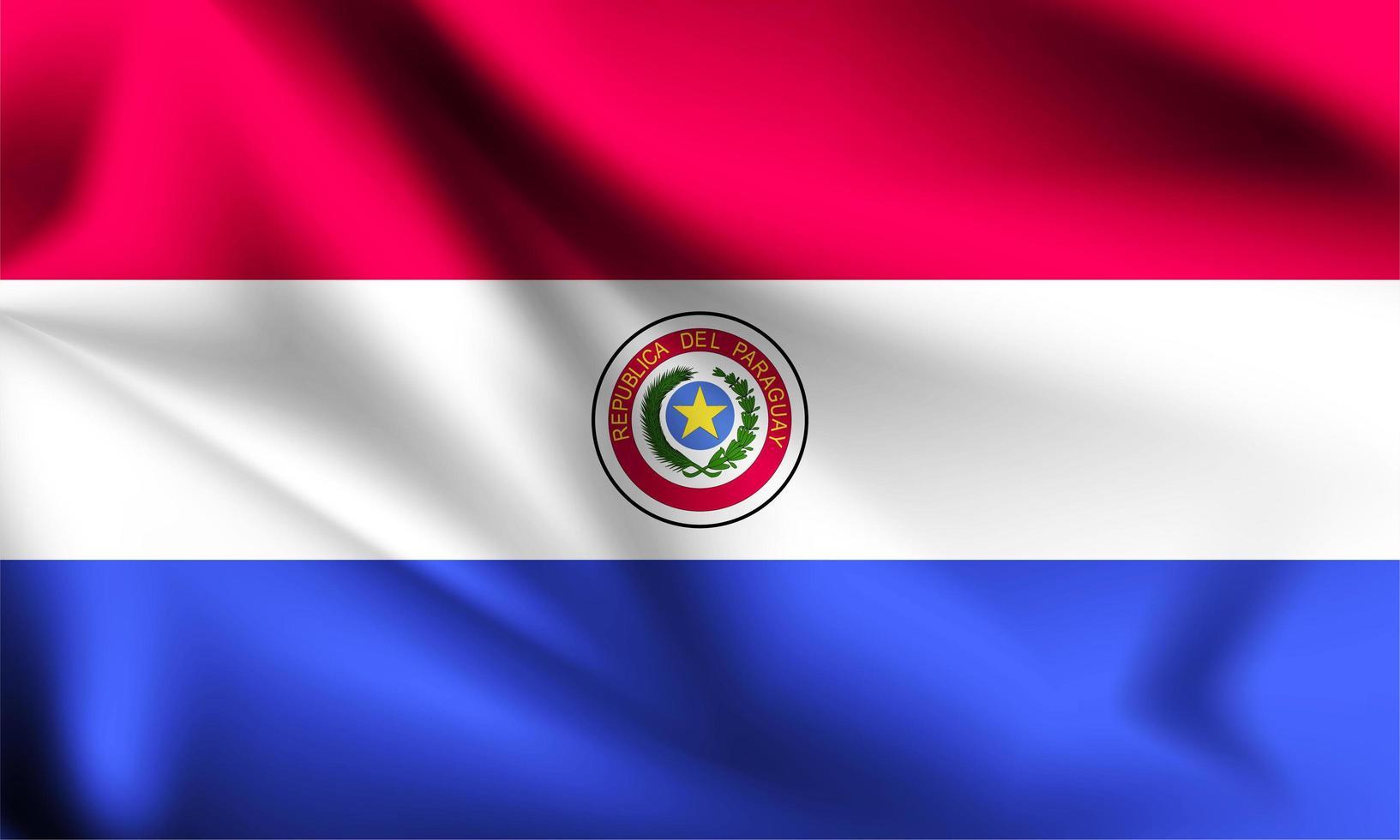 bandera 3d de paraguay vector