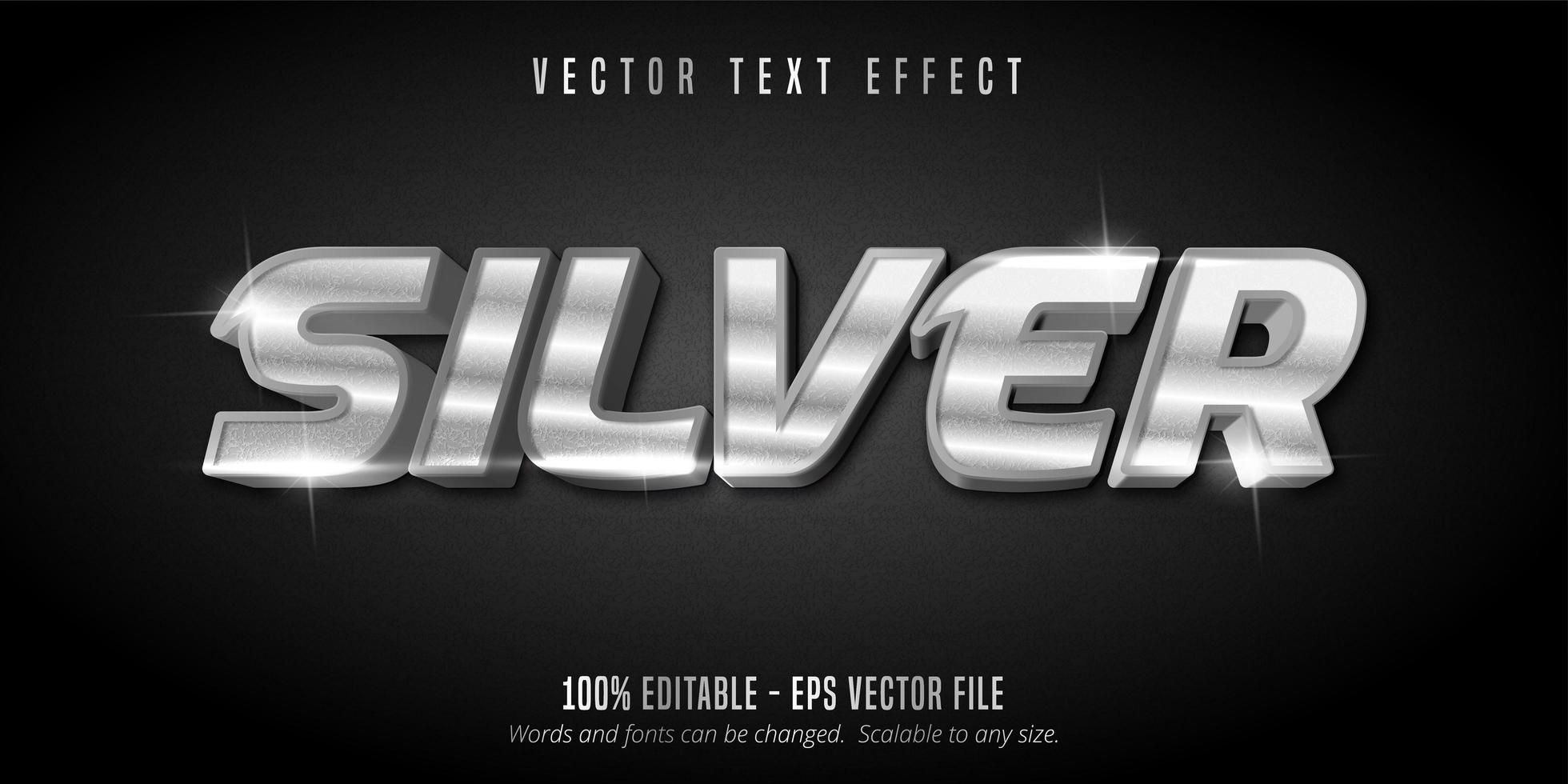 efecto de texto editable de estilo brillante plateado vector