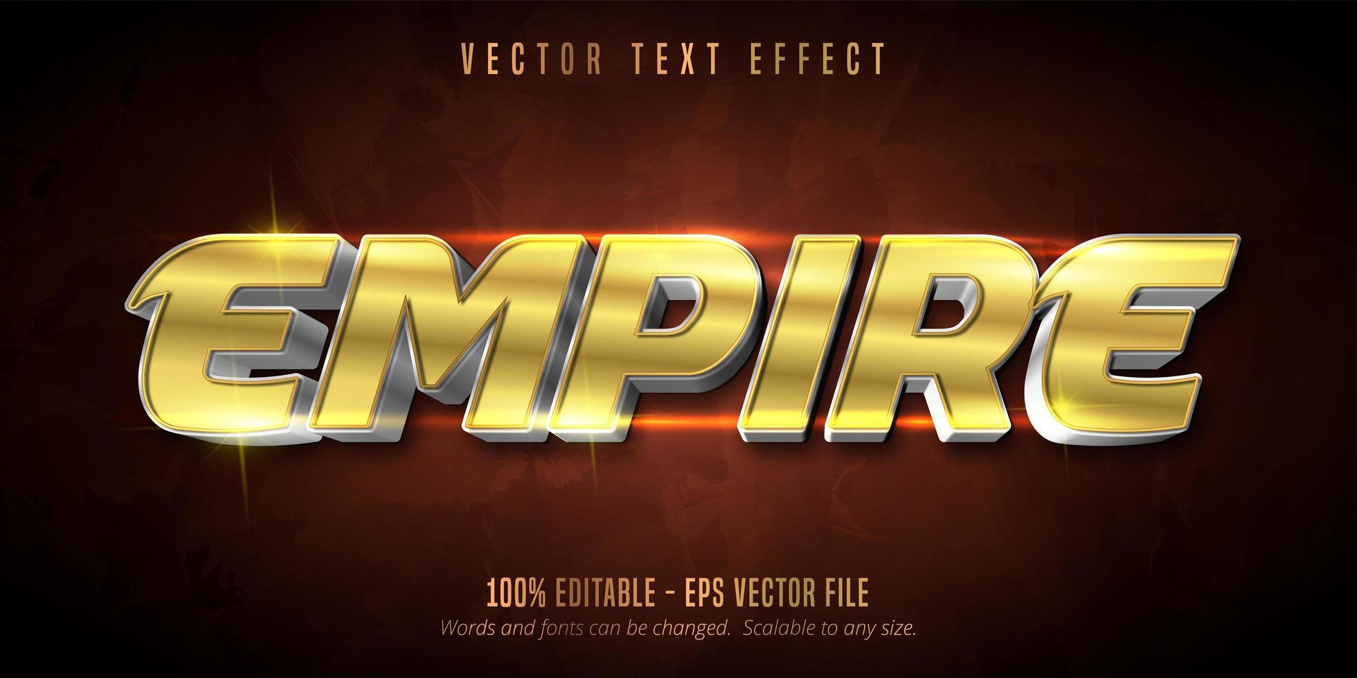 efecto de texto editable de oro brillante del imperio vector