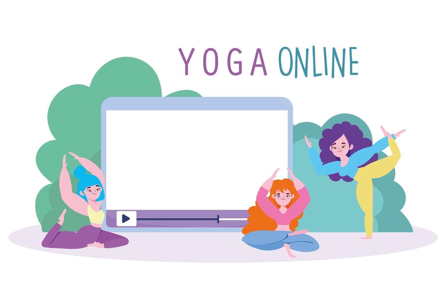 personajes de mujeres con tableta practicando yoga vector
