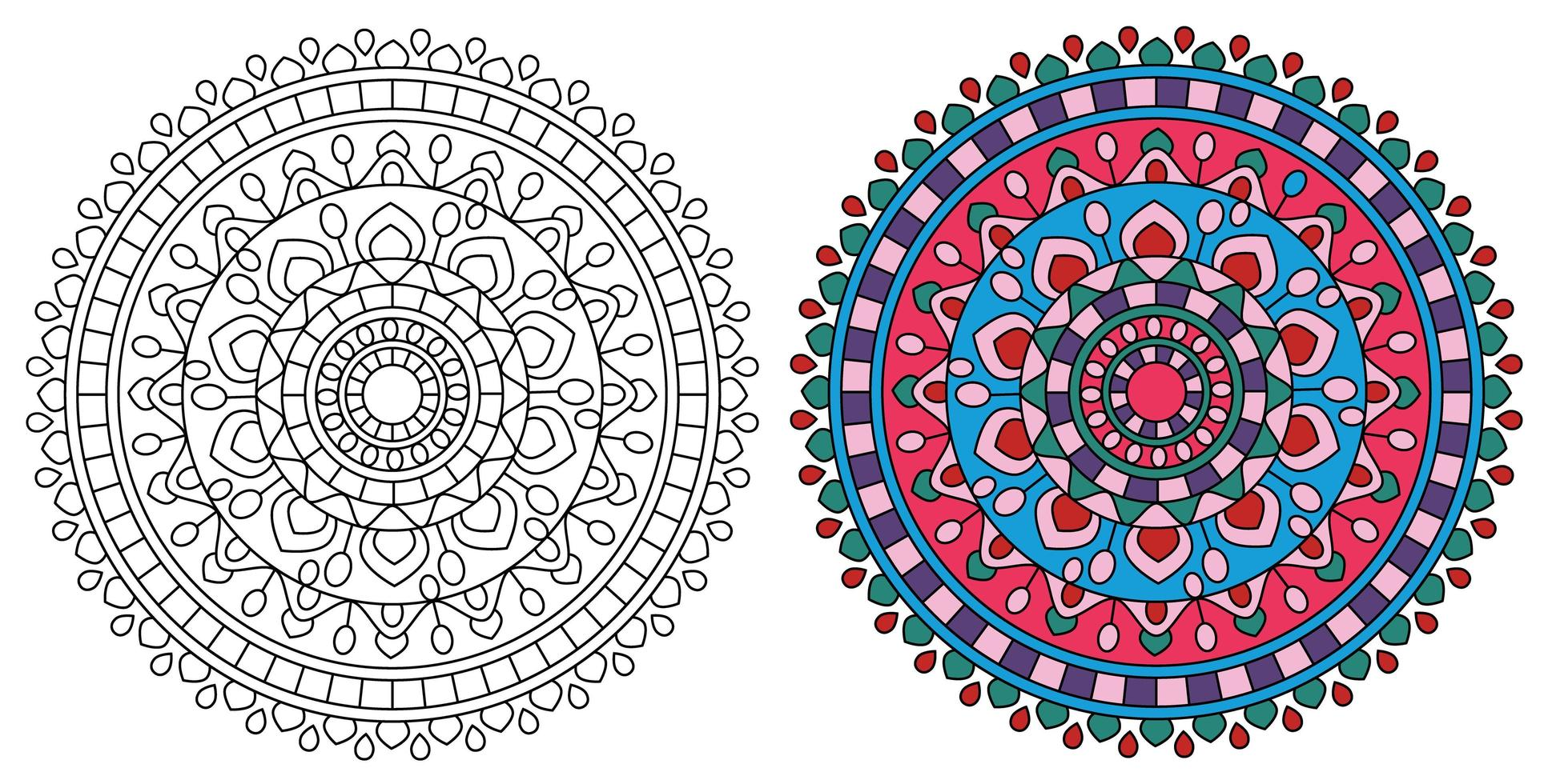 Mandala Round Bright Design Coloring Page vector
