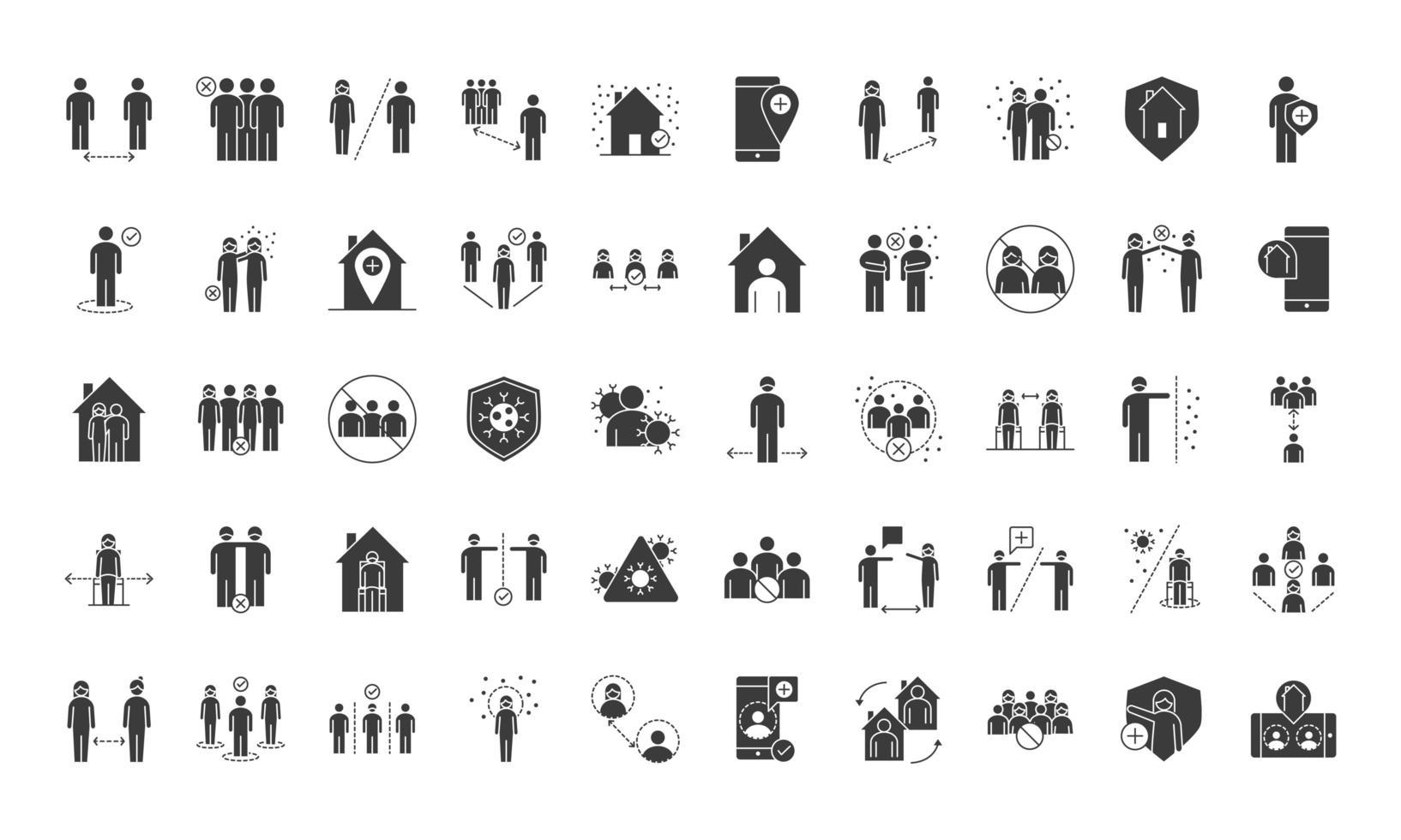 conjunto de iconos de distanciamiento social de coronavirus vector