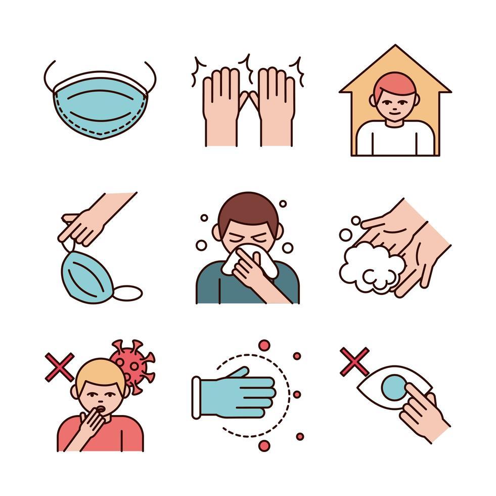 covid 19 conjunto de iconos de prevención de coronavirus vector