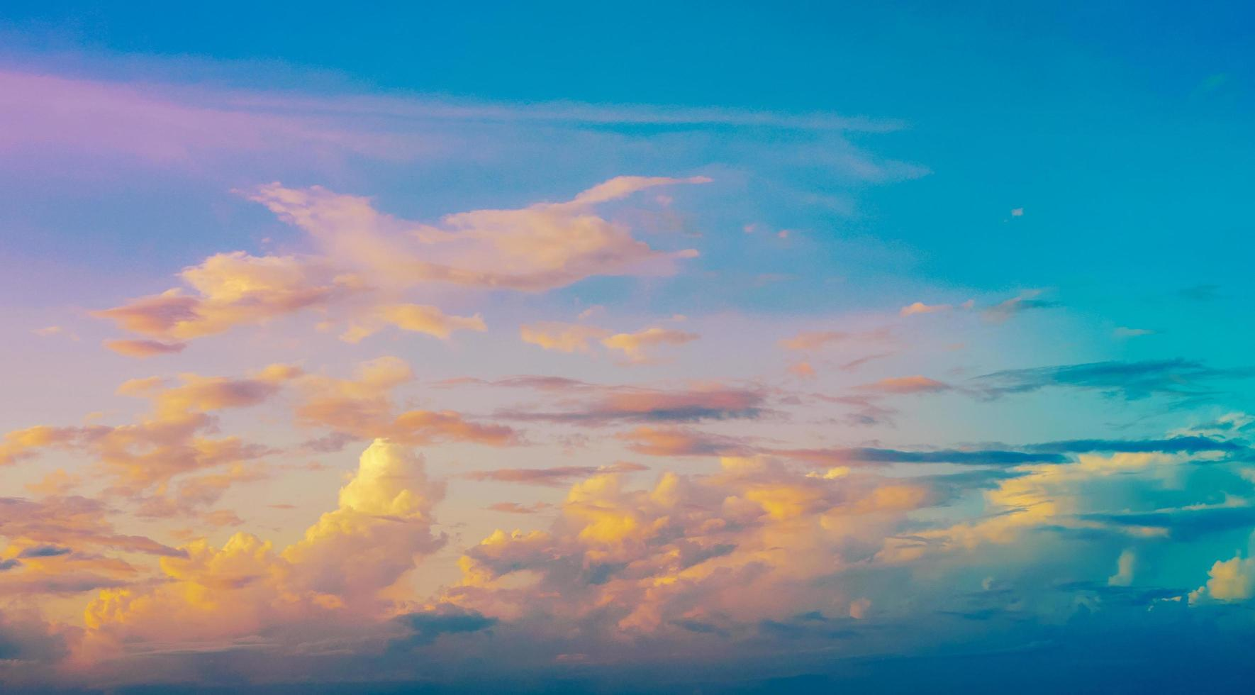 Saturated colors of blue sky in summer photo