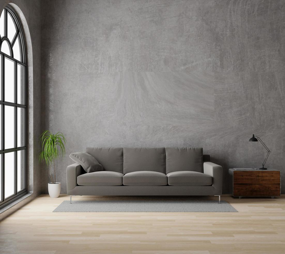 3D rendering living room with brown sofa, raw concrete, wooden floor, window, and plant photo