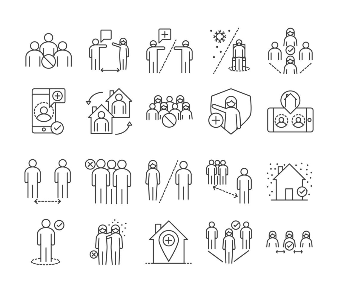 Social distancing prevention line style icon set vector