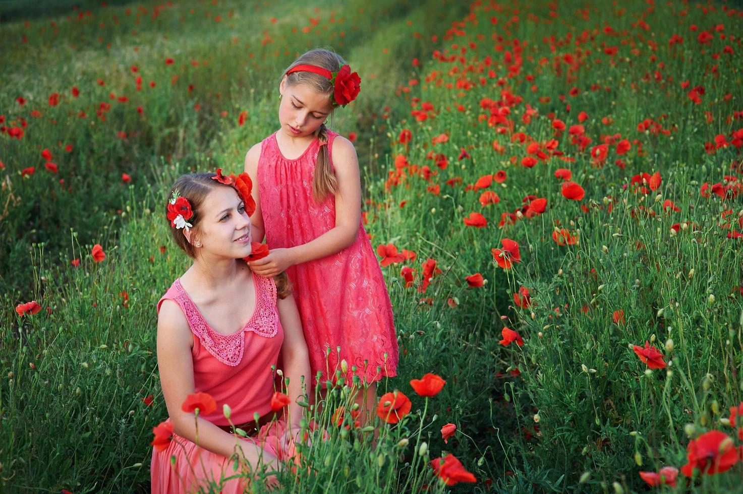Two girls in pink dresses in poppy field photo