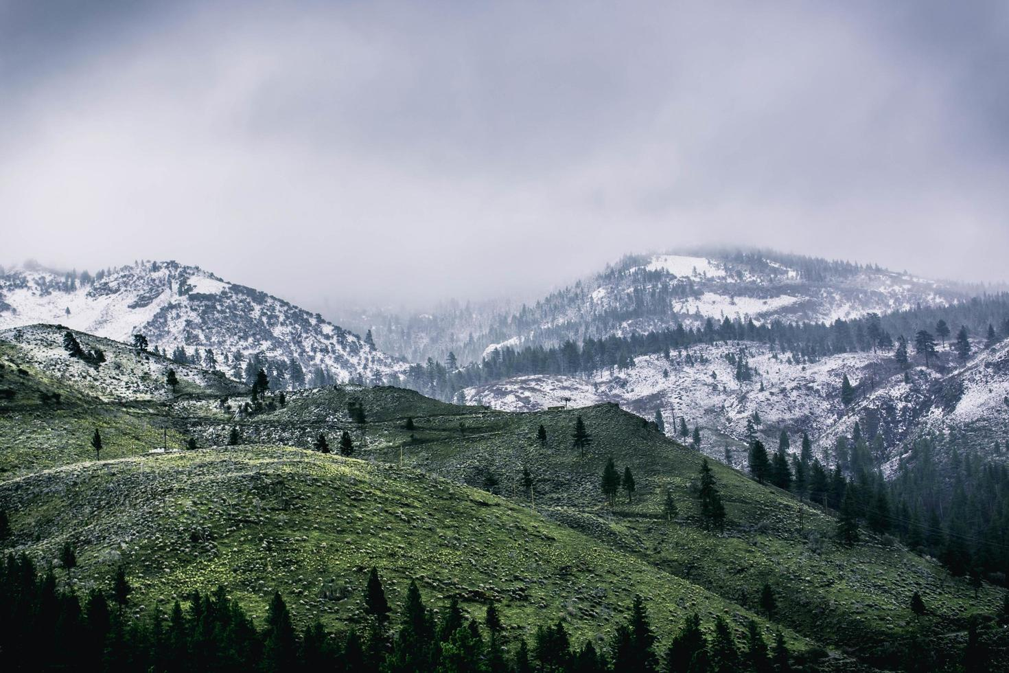 Green mountains covered in snow photo