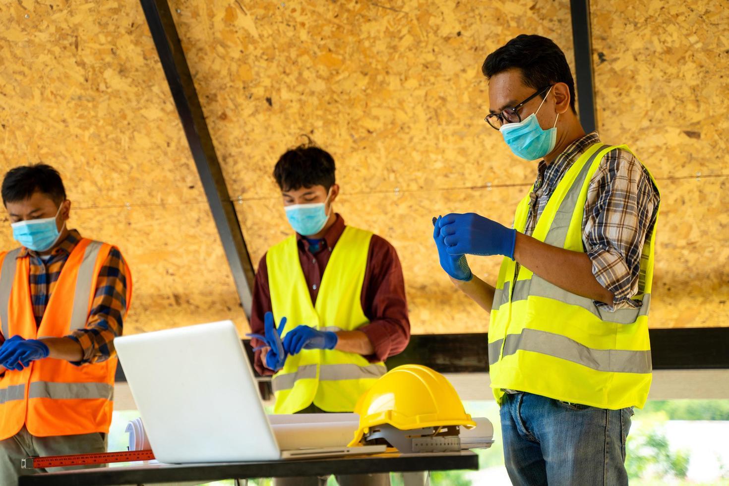 Men wearing protective face masks photo