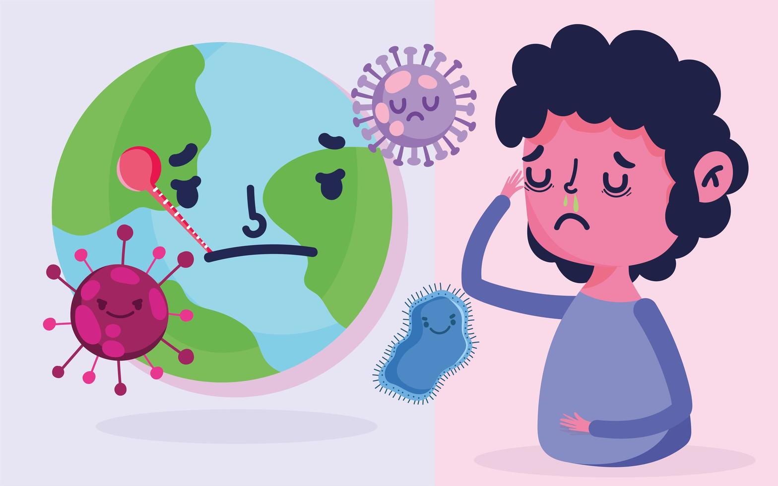 diseño de pandemia covid-19 con niño con síntomas de fiebre vector