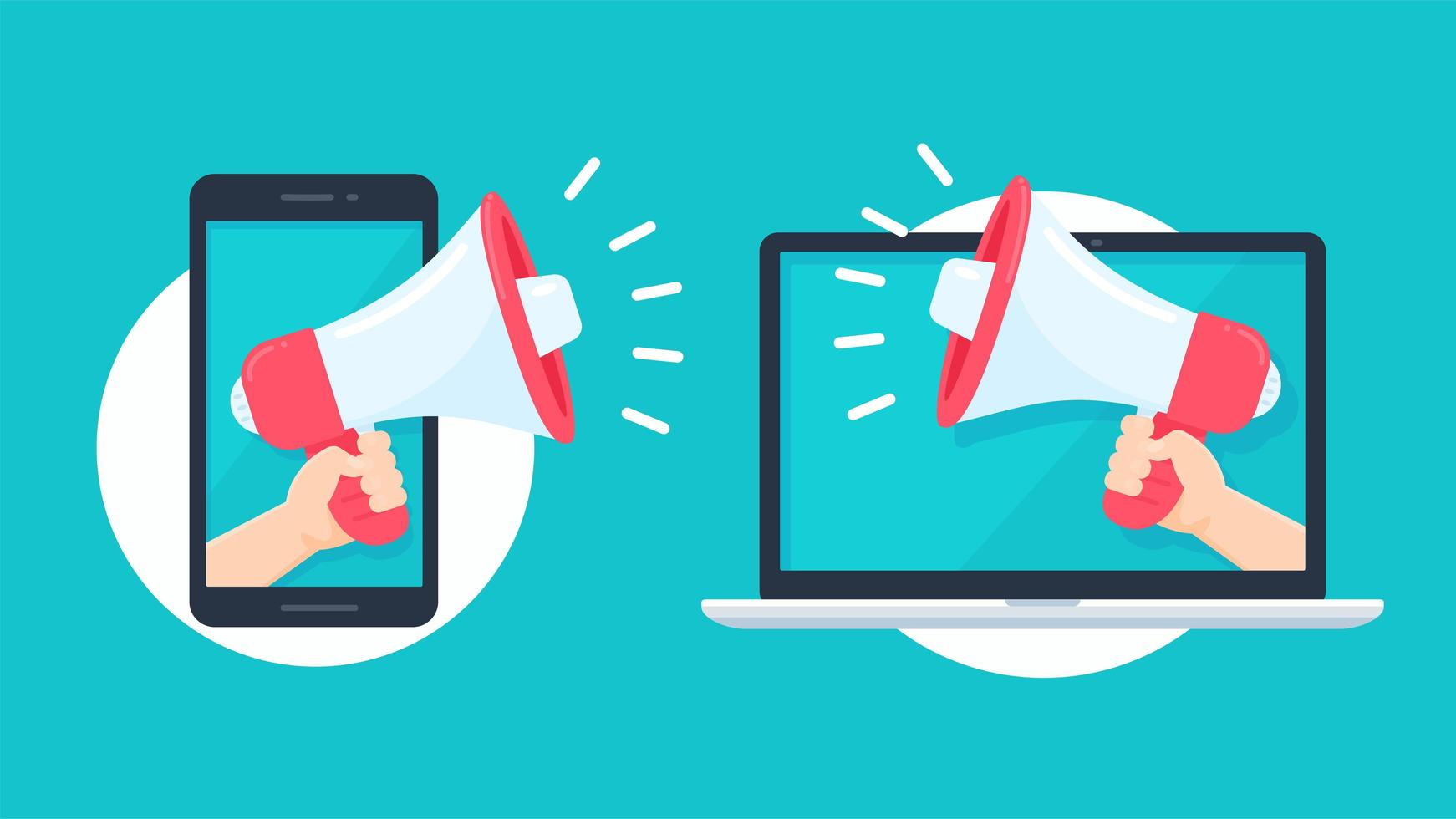 Megaphone reaching out from smartphone and laptop vector