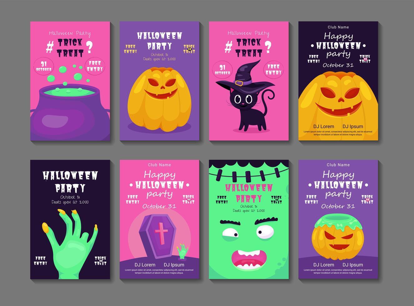 conjunto de flyer de fiesta de halloween vector