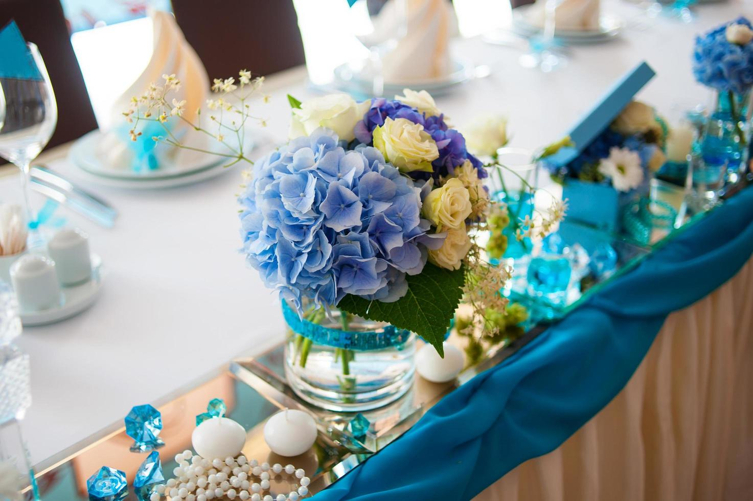 Decorated restaurant tables photo