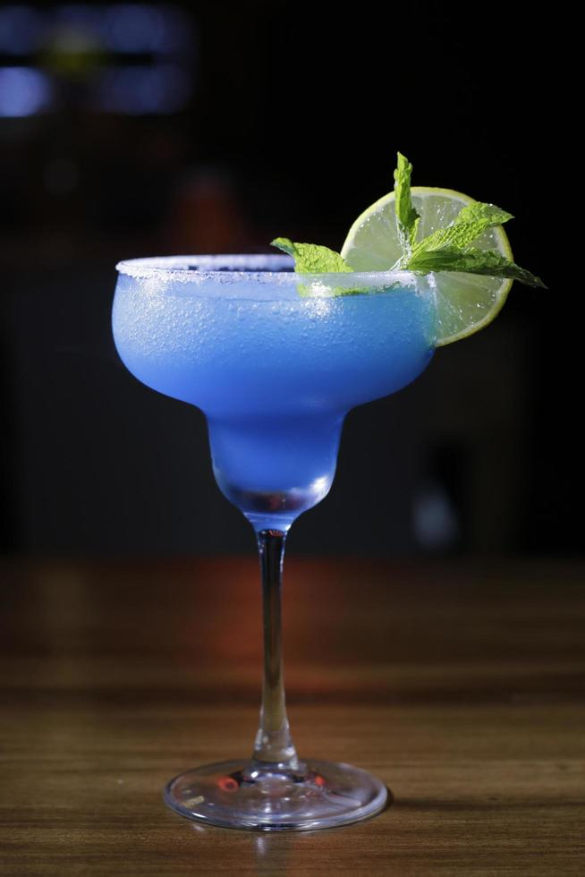 Blue margarita with lemon photo