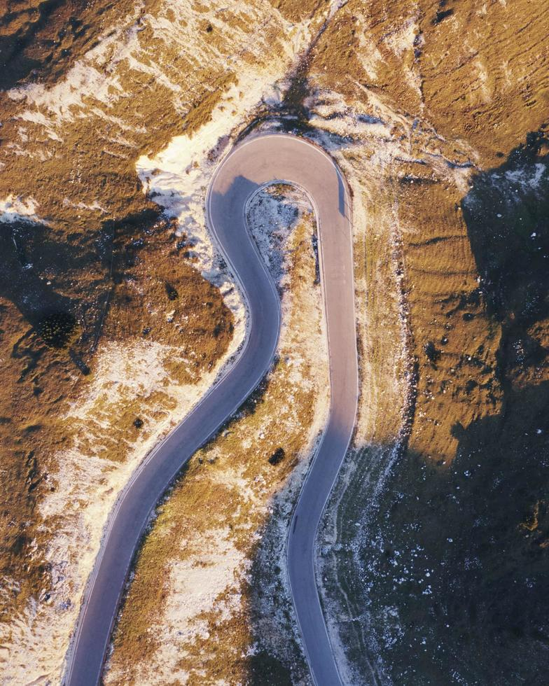 Aerial view of curvy road photo