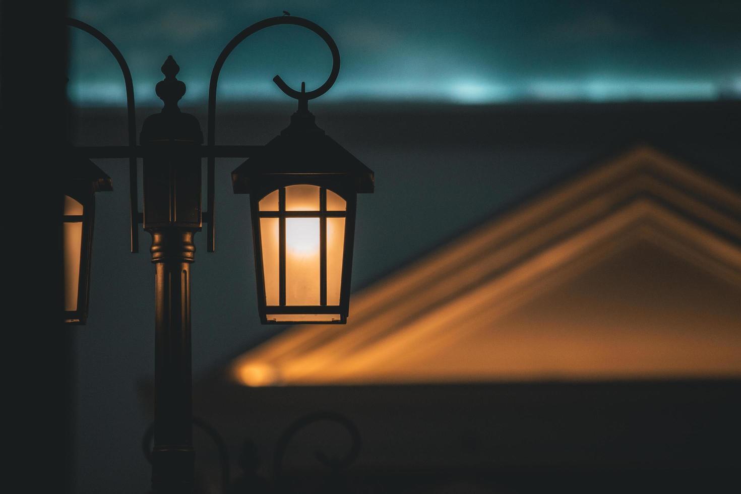 Illuminated street lamp photo