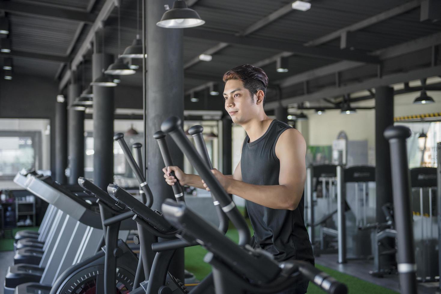 Man running on a treadmill photo