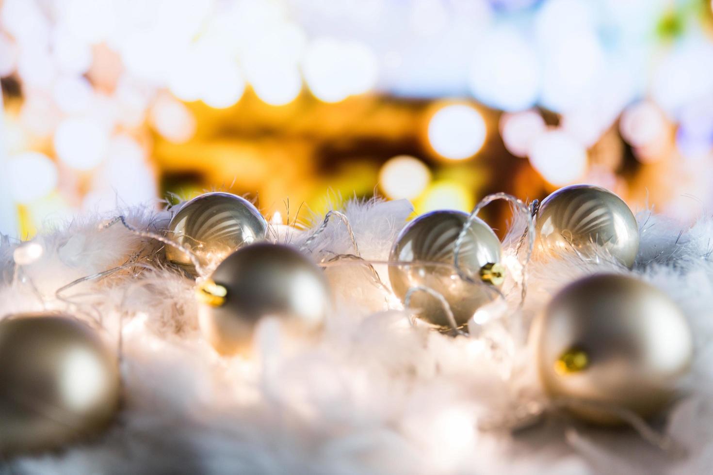 Christmas bulbs close up photo