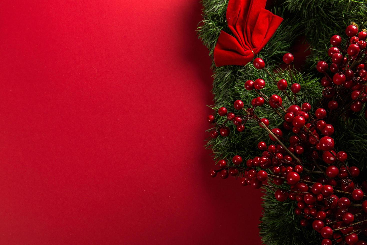 Red and green holiday decorations photo