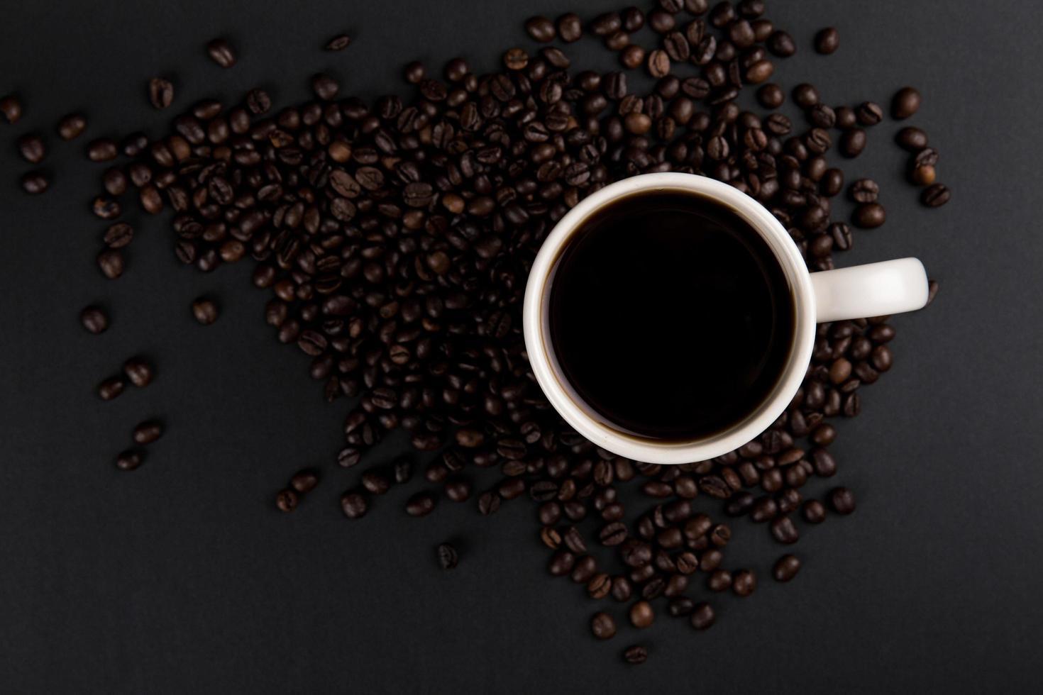 taza de café con leche, vista plana foto