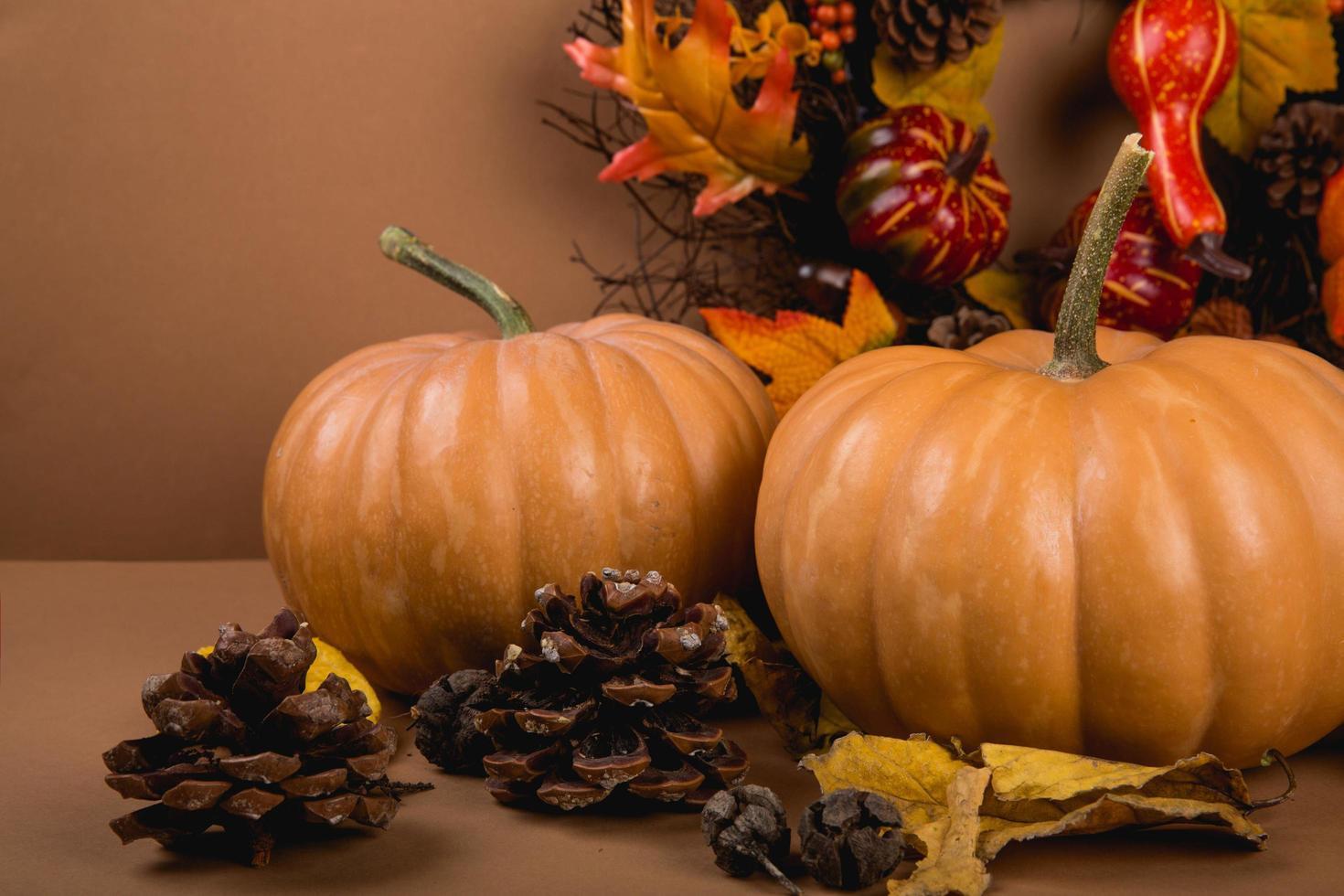 Two pumpkins on decorative backdrop photo