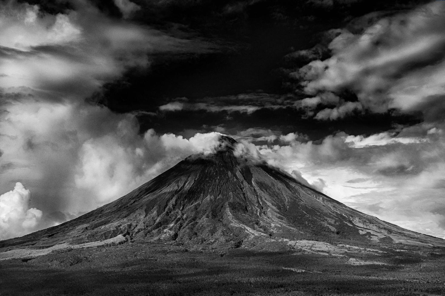 Grayscale of volcano photo