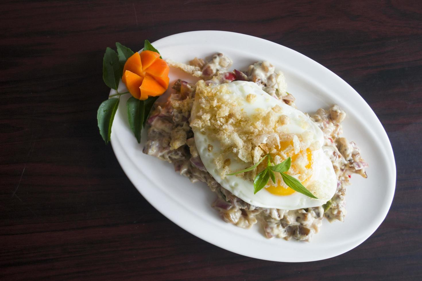 Dish with sunny side up egg photo