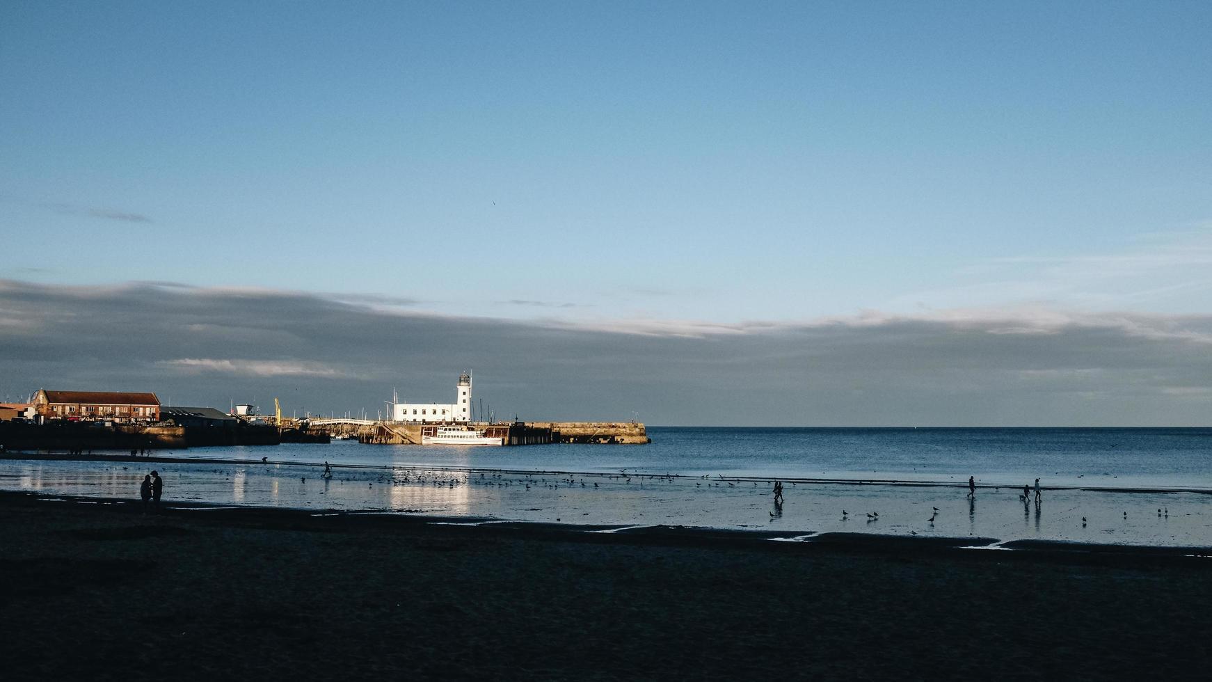 White ship on the sea photo