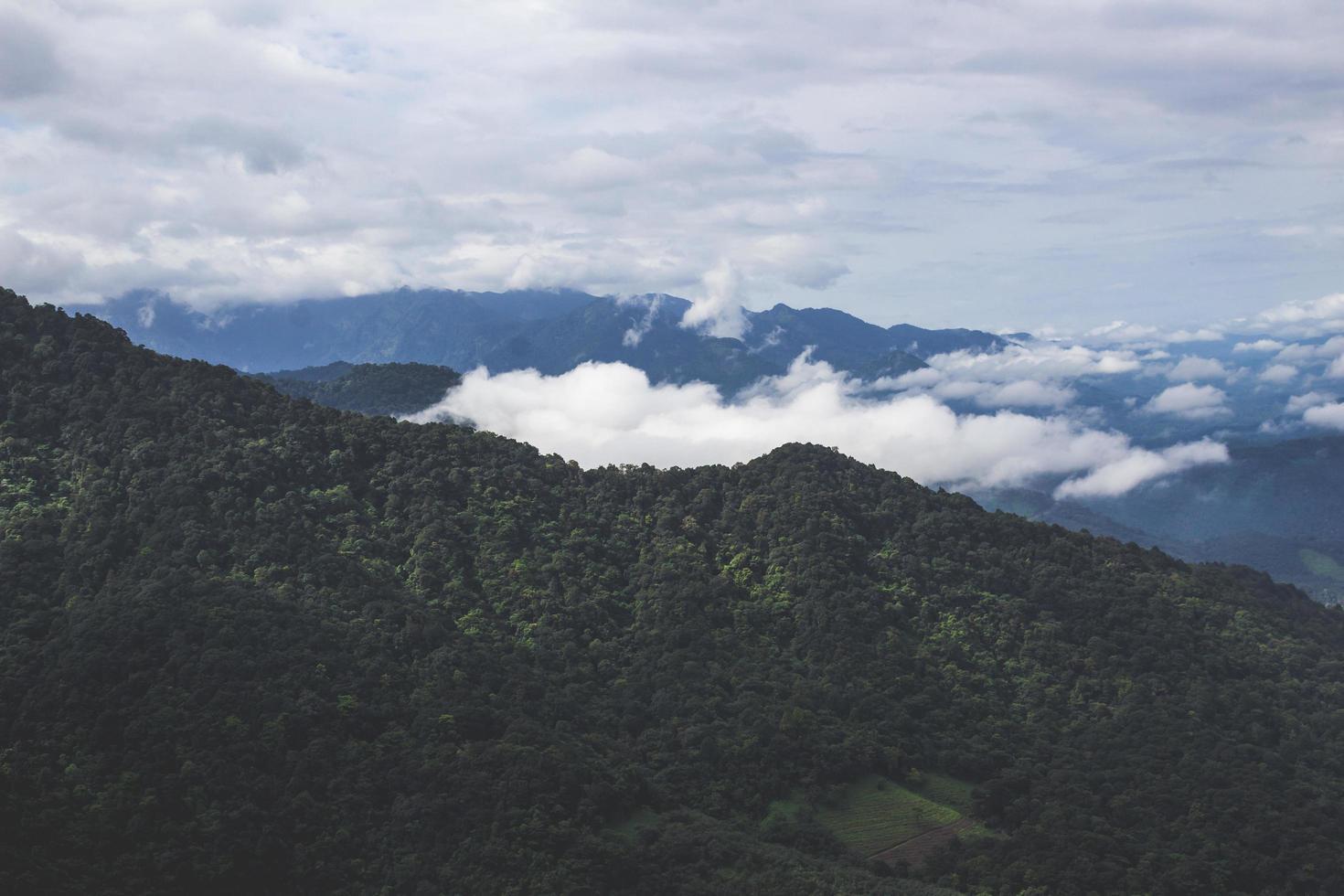 High angle photo of mountain range