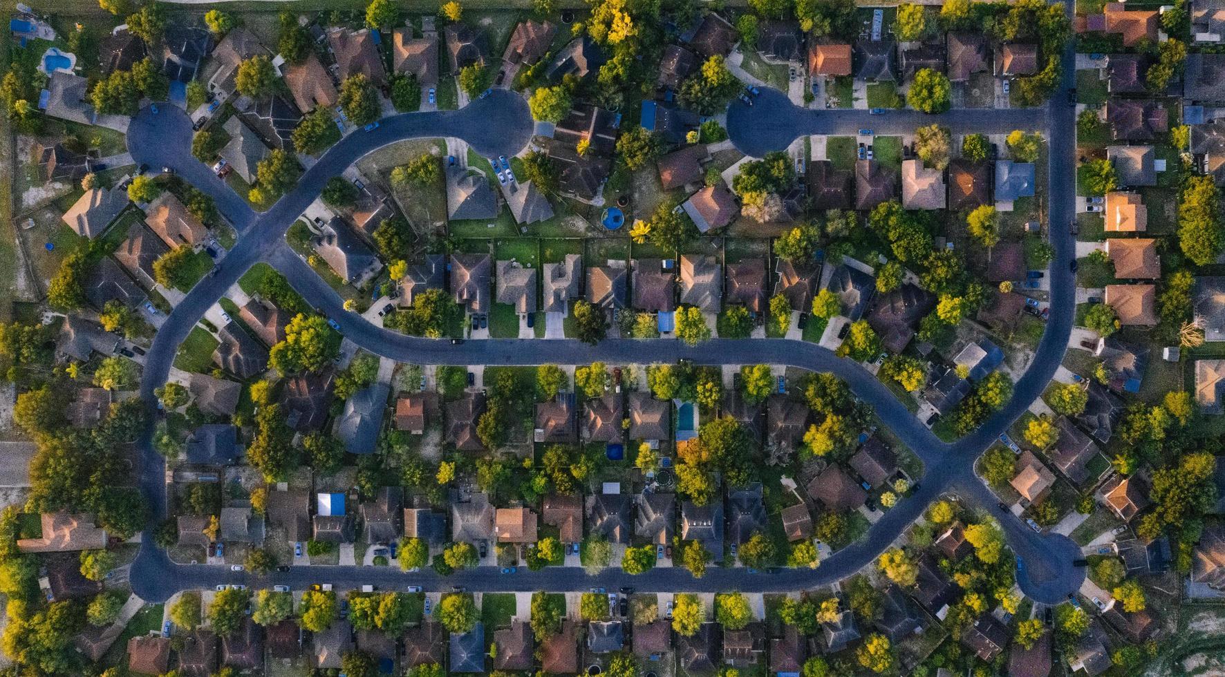 Bird's eye view of houses photo
