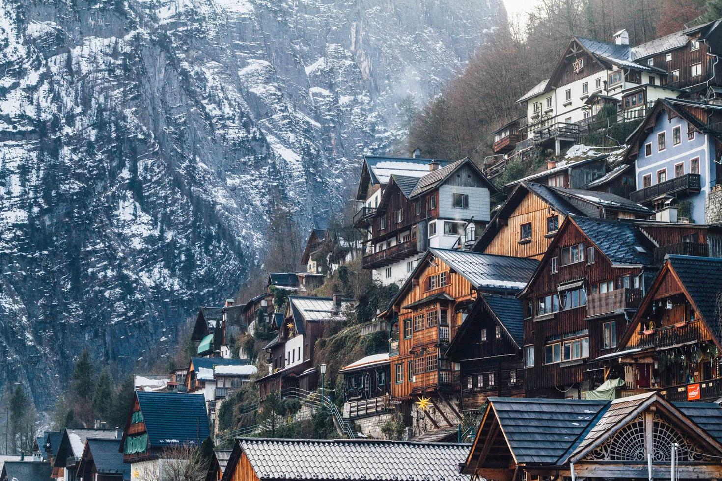Wooden houses on mountain photo