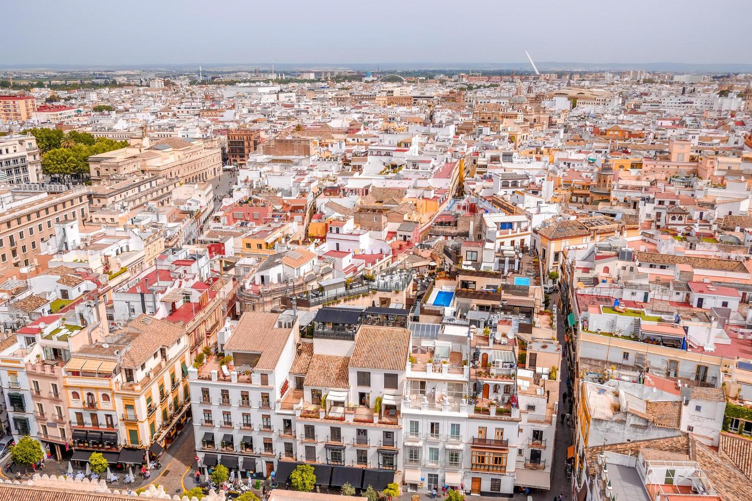Cityscape view of Seville from above photo
